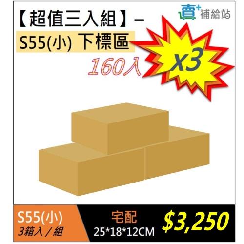 【超值三入組】S55素面無印刷紙箱(160入)*3箱
